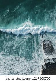 Aerial view of huge ocean wave. Drone Photo