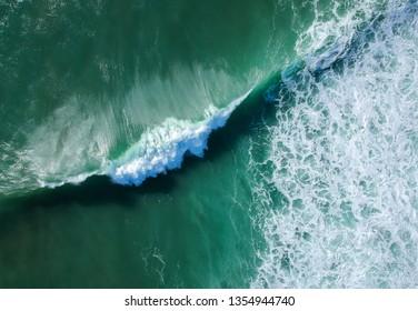 Aerial view of huge ocean wave. Drone Photo.