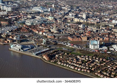 aerial view of Hull city centre, East Yorkshire, UK