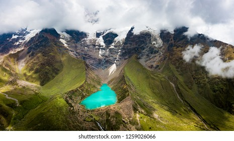 Aerial view of Humantay lake in Peru on Salcantay mountain in the Andes