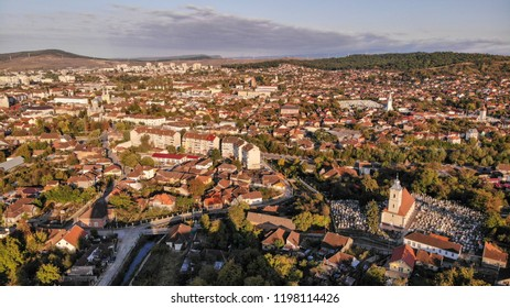 Aerial view of Hunedoara, Tovn in Transylvania, Romania.