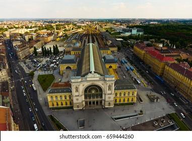 Aerial view at hungarian train station, Keleti Pályaudvar
