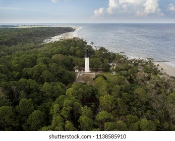 Aerial view of hunting island lighthouse in South Carolina