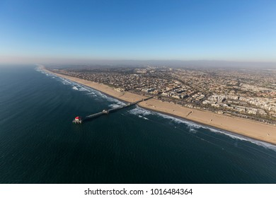 Aerial view of Huntington Beach Pier in Orange County on the California Pacific Ocean coast.