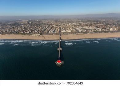 Aerial view of Huntington Beach Pier in Orange County, California.