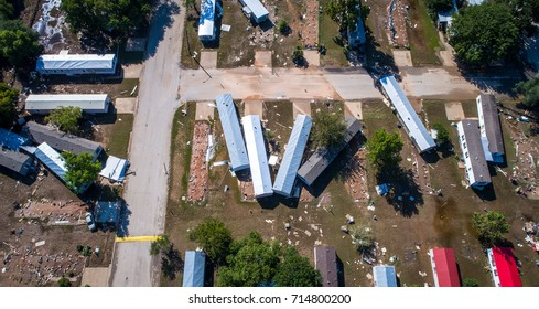 Aerial View Hurricane Harvey Total Destruction Small Town Community in La Grange , Texas houses smashed, wrecked, flooded, destroyed, and some completely gone. A Sad and horrible scene