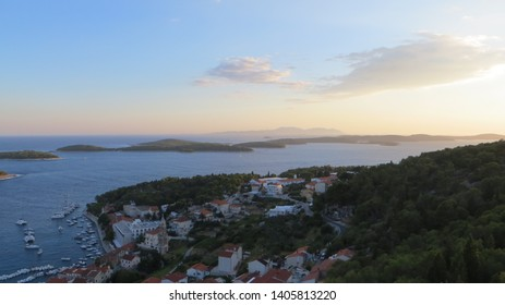 Aerial view of Hvar Town viewed from the The fort Fortica (Spanjola), Dalmatia, Croatia. Elevated fortress with panoramic views of city, islands and sea.
