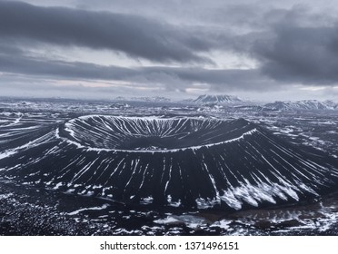 Aerial view Hverfjall tephra cone ring volcano in northern Iceland