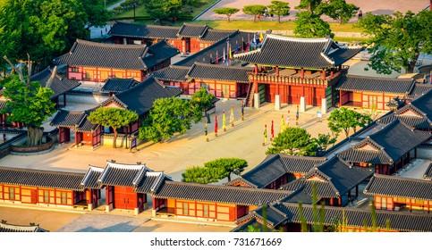 Aerial view of Hwaseong Haenggung Palace - Beautiful Traditional Architecture in Suwon, South Korea