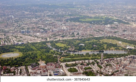 Aerial View of Hyde Park and Kensington Gardens in Central London