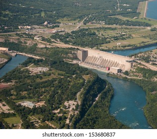 Aerial view of hydro electric plant and dam on Niagara River