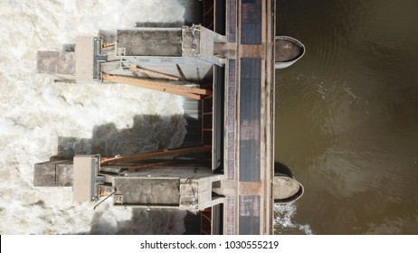 Aerial view of a hydroelectric plant