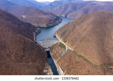 Aerial view of a hydroelectric plant and dam, weir, Tarnita lake reservoir, Romania