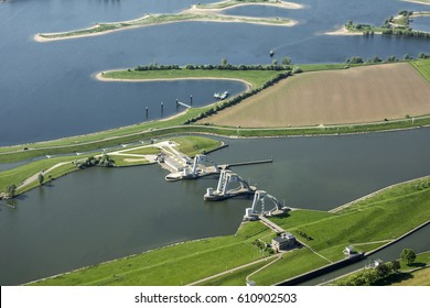 Aerial view of hydroelectric power plant in the river Nederrijn between Maurik and Amerongen in The Netherlands