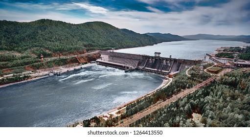 Aerial view of Hydroelectric power station in Krasnoyarsk. Top view from air.