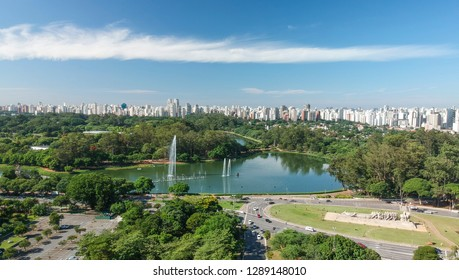 Aerial view of Ibirapuera park and Sao Paulo Skyline, sunny day, Brazil