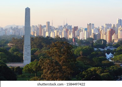 Aerial view of Ibirapuera park in Sao Paulo city, obelisk monument