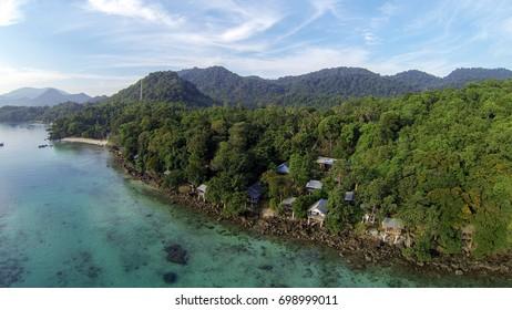 Aerial view of Iboih beach, Sabang, Nangro Aceh Darusalam