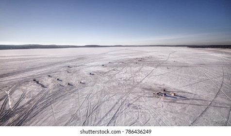 Aerial View Of Ice Fishing On Largest Inland Lake (Bernard) Without An Island In The World