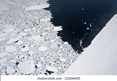 Aerial view of ice floes in the Antarctic