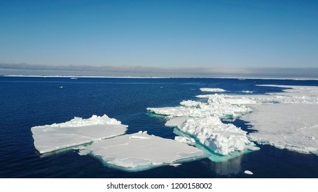 Aerial view of ice floes in Lancaster Sound, Baffin Island.