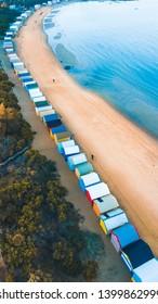 Aerial View of Iconic Bathing Boxes at Brighton Beach, Melbourne Australia