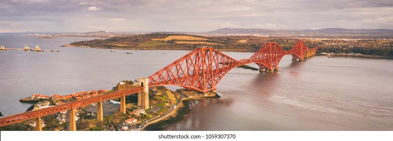Aerial view of the iconic Forth Bridge near Edinburgh. Scotland, UK