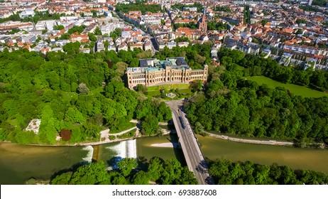 Aerial View Of Iconic Landmark Maximilianeum In Munich Germany