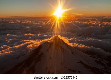 Aerial view of iconic mount Hood Oregon