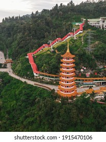 Aerial View of  the Iconic Pagoda in Chin Swee Temple, Genting Highland, Malaysia