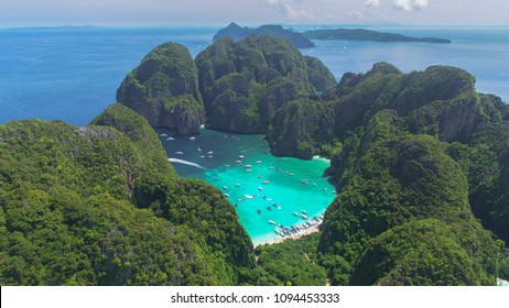 Aerial view of iconic tropical Maya Bay,Phi Phi islands, Thailand