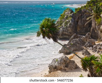 Aerial view of the idyllic beach and coast in the Mexican Caribbean sea, Quintana Roo, Mexico