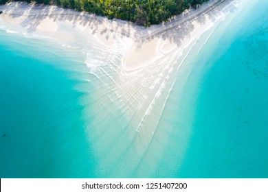 Aerial view of idyllic tranquil sea island deep blue turquoise water, Nature landscape