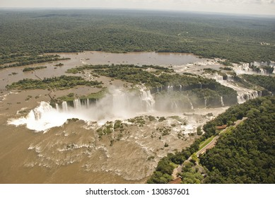 Aerial view of Iguassu falls on Parana river (Iguazu/Iguacu), between Argentina and Brazil