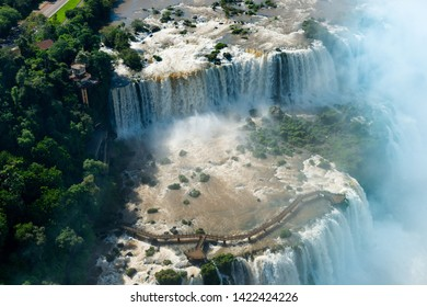 Aerial view of Iguazu Falls in the border of Argentina and Brazil
