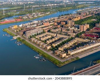 Aerial view of IJburg residential district in Amsterdam, Netherlands