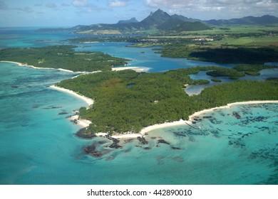 Aerial view of Ile Aux Cerfs in Mauritius