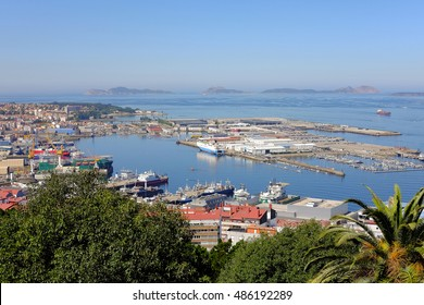 Aerial view of the important commercial and fishing port of Vigo in Galicia, Spain