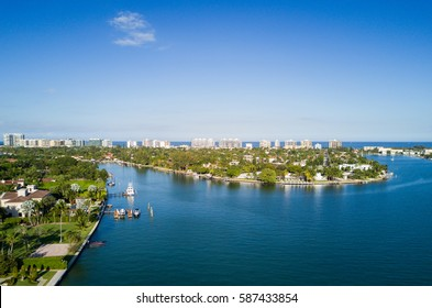 Aerial View of Indian Creek, Surfside and Miami Beach in Florida.