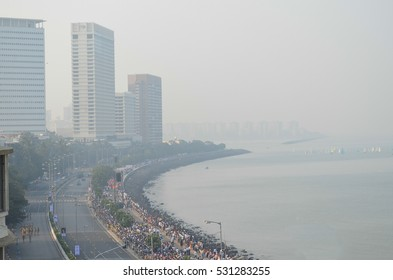 An aerial view of the Indian republic day parade at Marine drive in Mumbai,India.Image taken on 26th Jan 2014.This is the first and only republic day Parade held in Mumbai.
