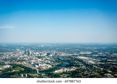 Aerial view of Indianapolis, IN skyline and river