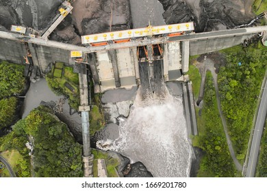 aerial view individual sight over empty water barrier disaster powder water flow scenery land uav industry landscape dirty dry reservoir scene natural orthorectified blazing aerial view earth model si - Shutterstock ID 1669201780
