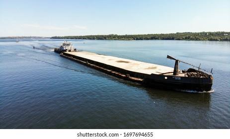 Aerial View Industrial - Cargo shipping / River cargo ship / Barge with cargo on the river / ship, shipping, river, barge, ship / Судоходство и речной флот