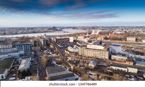 aerial view industrial cityscape winter time