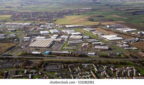 aerial view of an industrial estate near Peterlee, UK
