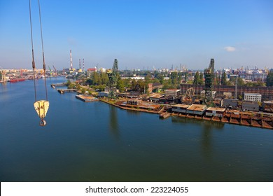 Aerial view of the industrial landscape shipyard in Gdansk, Poland.