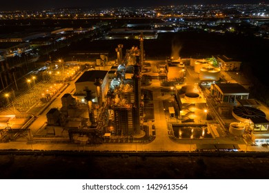 Aerial view. industrial power plant energy at night and twilight