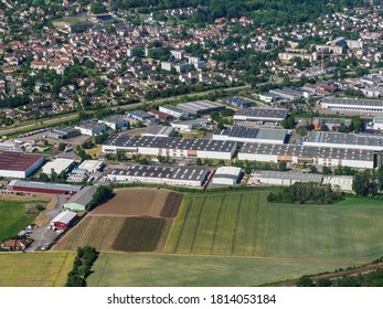 aerial view of an industrial zone
