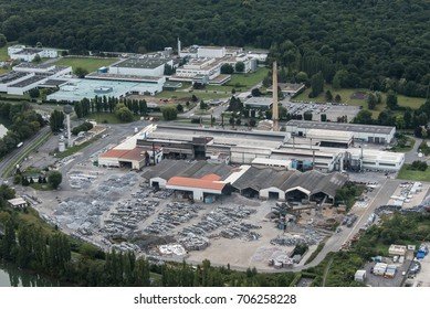aerial view of the industrial zone of Compiègnes in the department of Oise in France