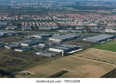Aerial view of the industrial zone at Ferrières-en-Brie at the east of Paris